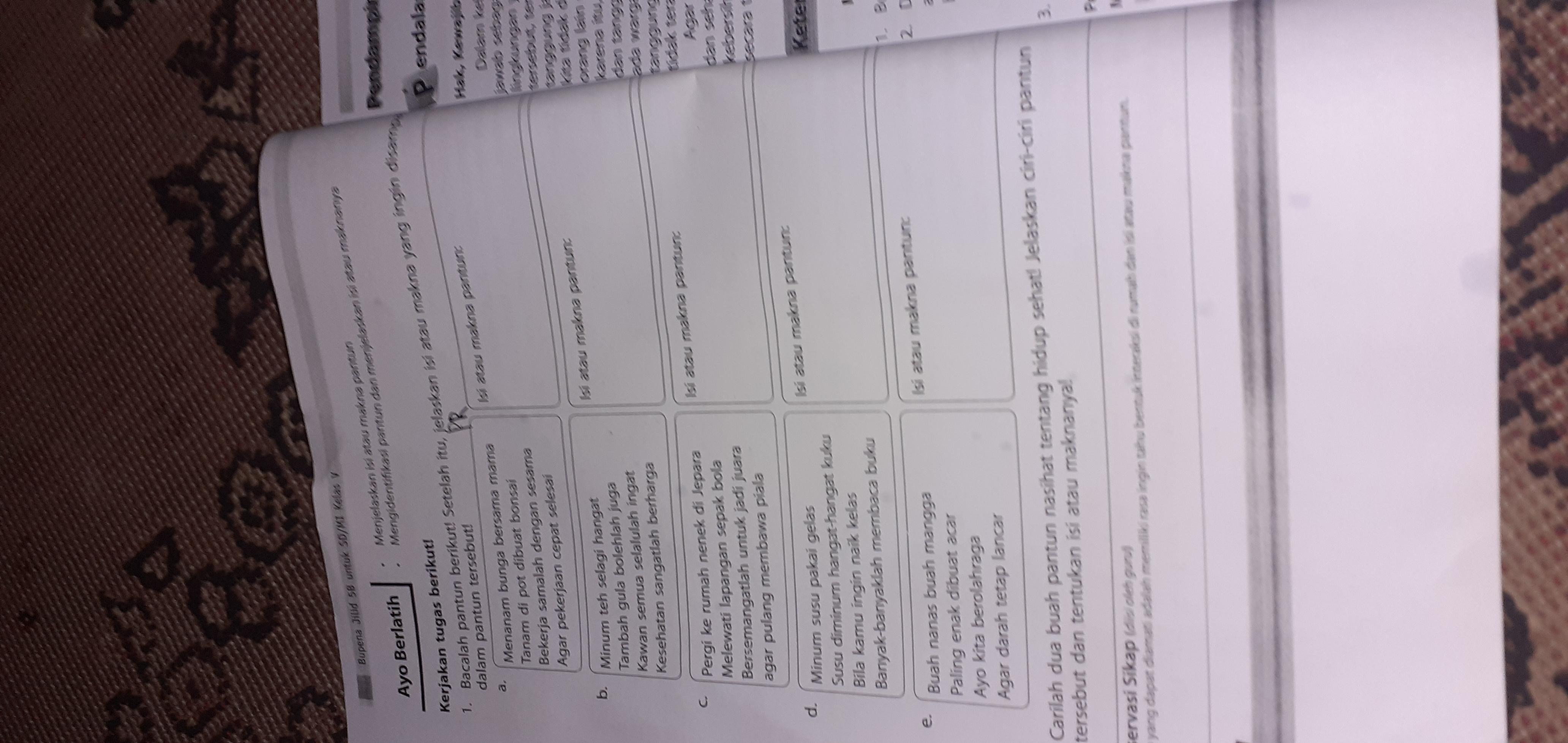 Kunci Jawaban Bupena Kelas 5 Jilid 5b Halaman 14 Brainly Co Id