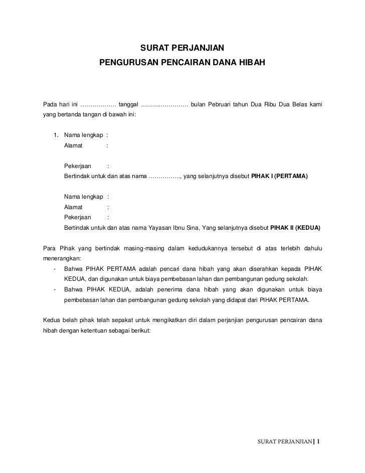 Contoh Surat Perjanjian Brainlycoid