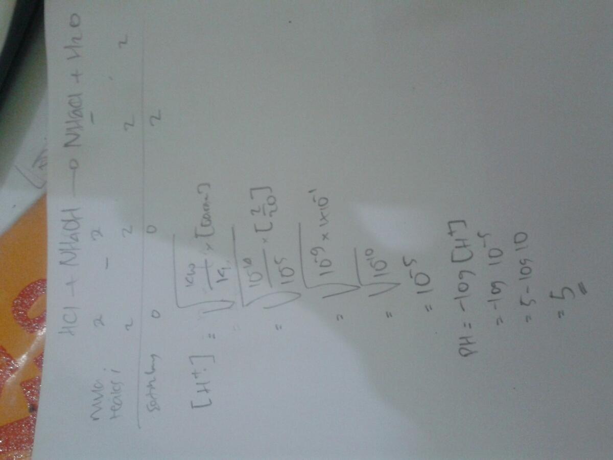 Sebanyak 10 ml larutan HCL 0.2M dicampur dengan 10ml ...