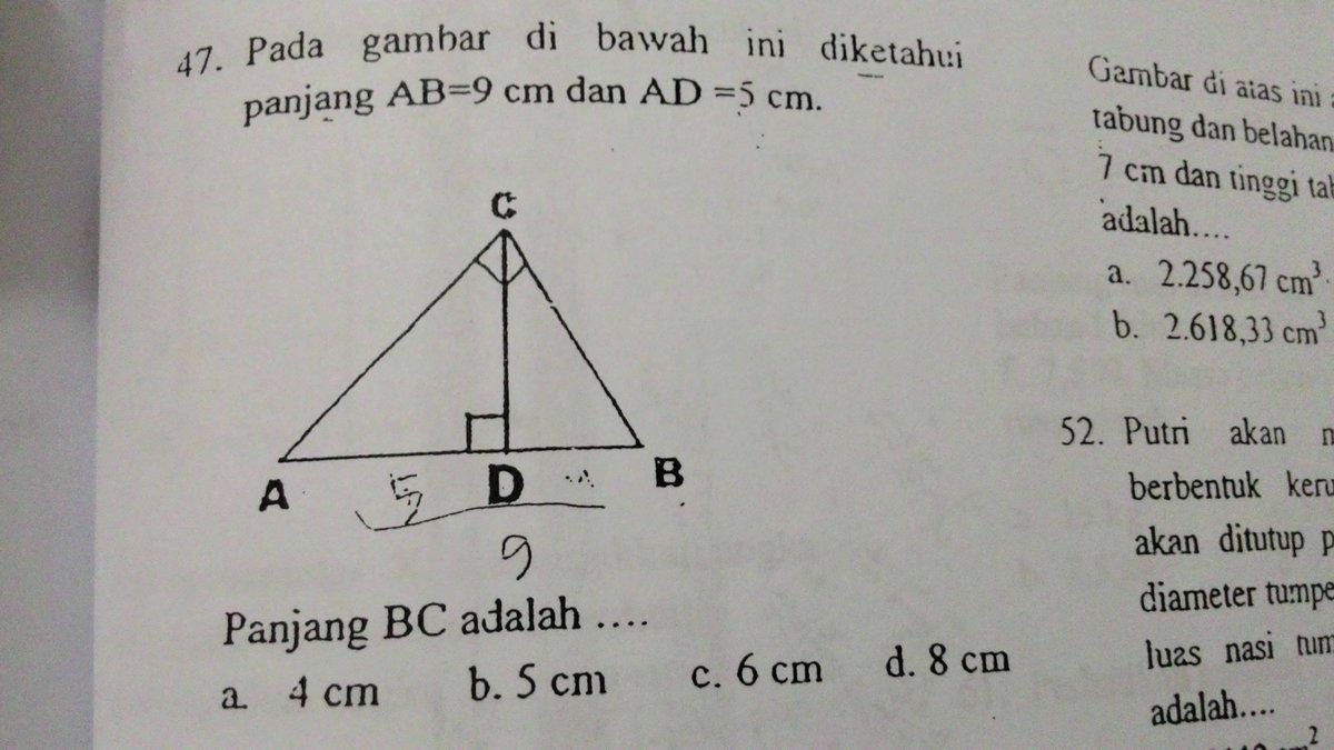 Pada gambar di bawah ini diketahui panjang AB= 9 cm dan AD ...