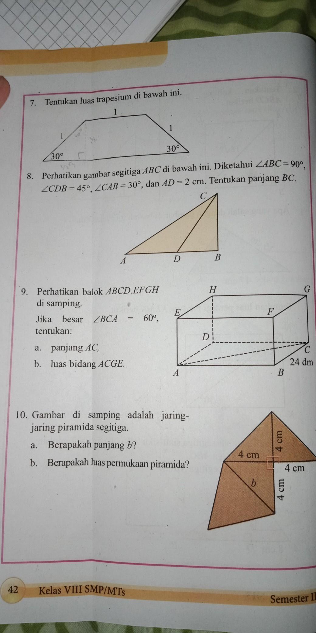 Jawaban Soal Matematika Kelas 8 Semester 2 Hal 40 Sampai 42 Nomer 8 Sampai 10 Brainly Co Id