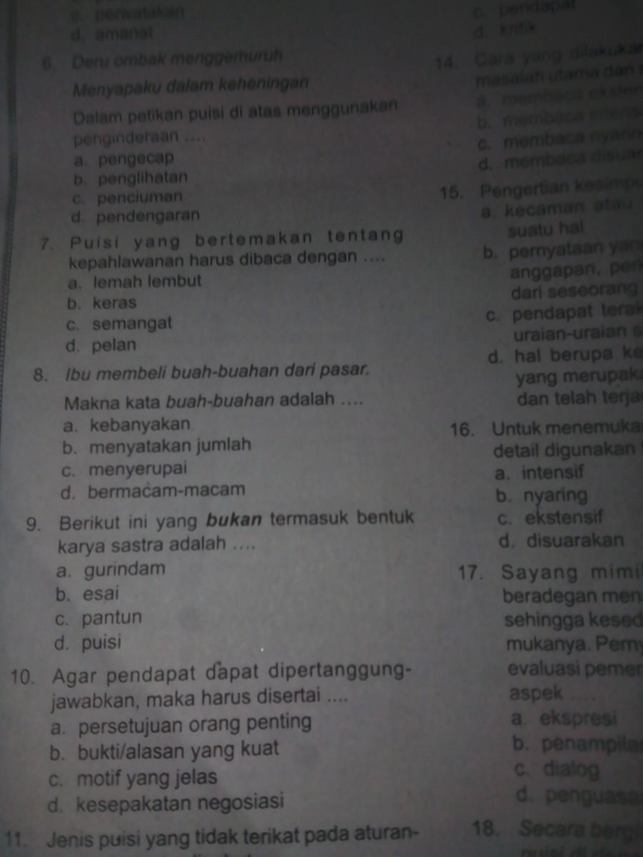 Contoh 10 Soal Bahasa Indonesia Tentang Teks Ulasan Bagian Pilihan