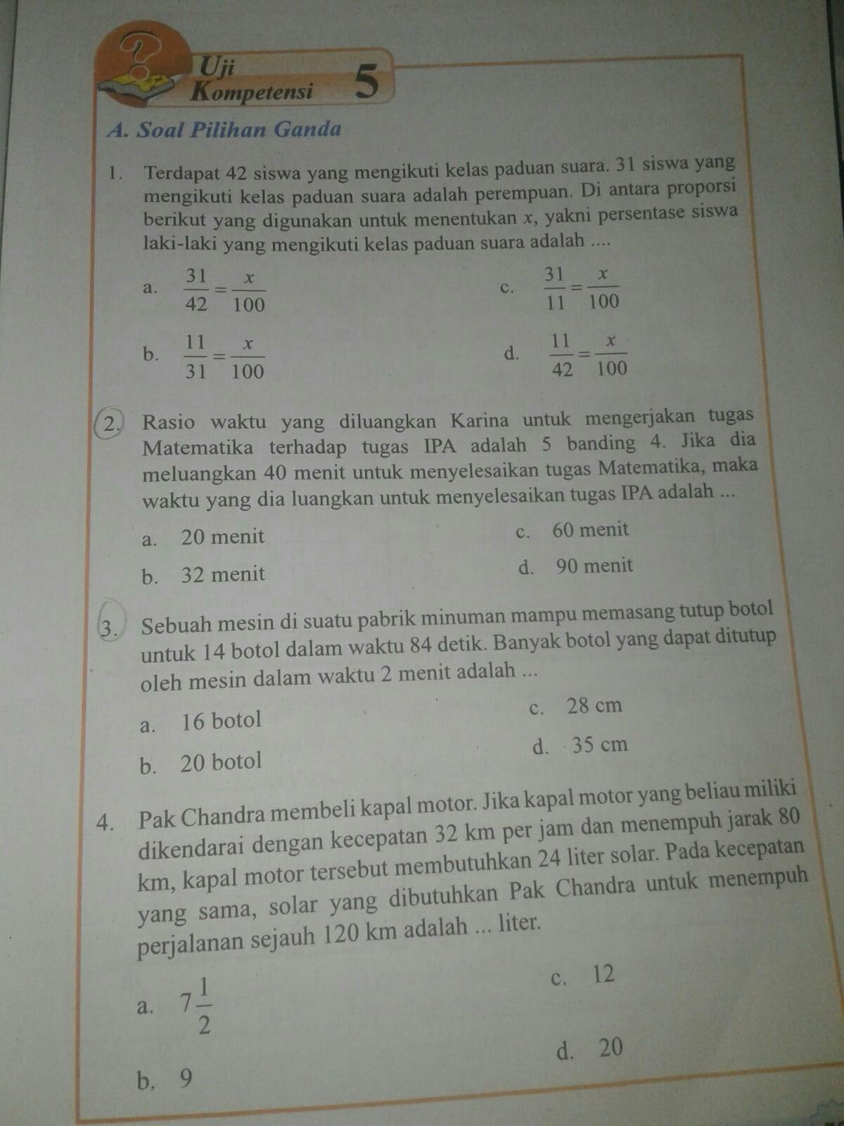 Jawaban Uji Kompetensi 5 Matematika Kelas 7 Hal 53 Sama Cara Nya Brainly Co Id