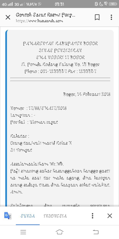 Contoh Surat Dinas Dalam Bahasa Sunda Brainlycoid