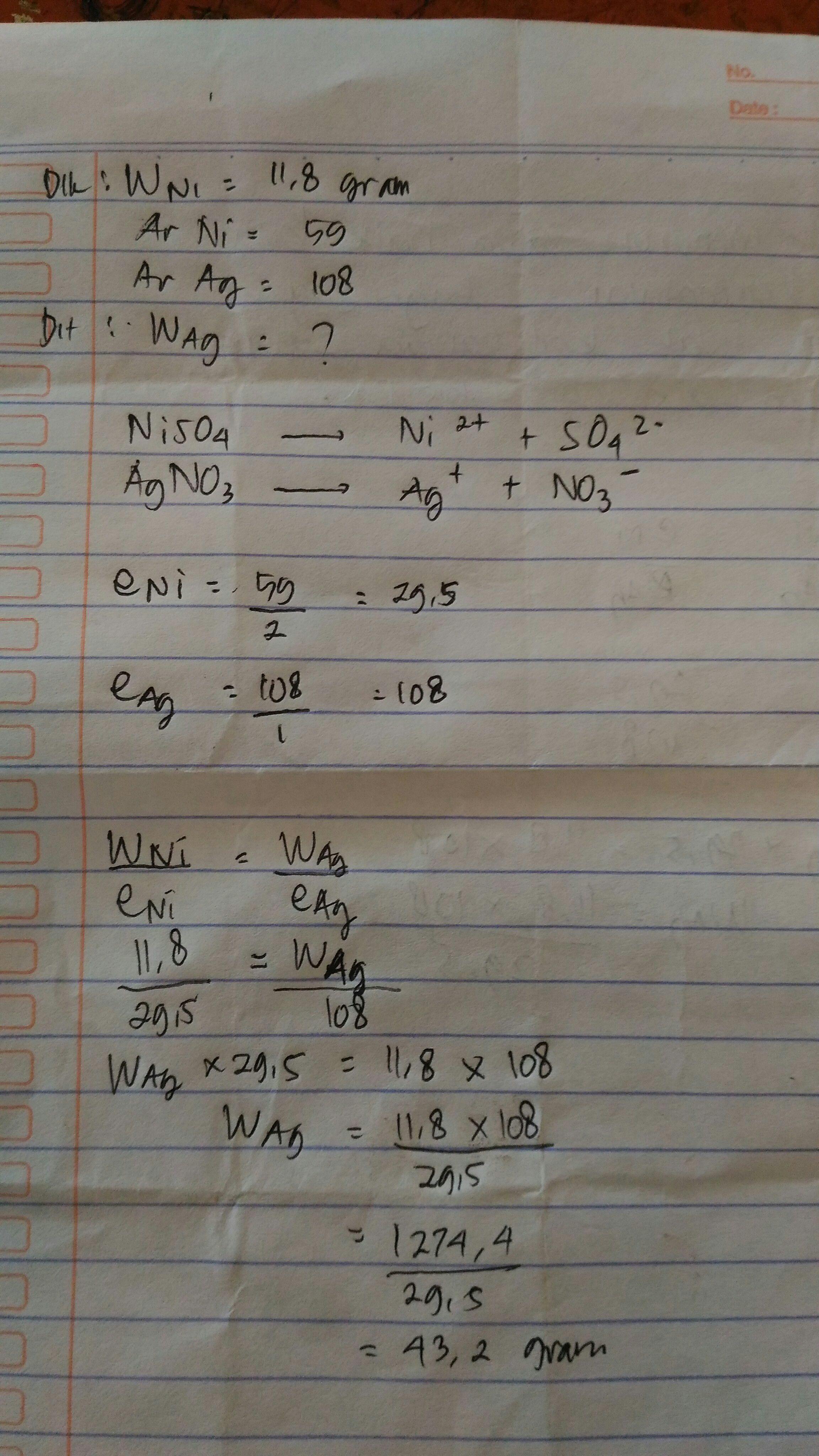 Arus listrik dialirkan ke dalam larutan NiSO4 dan larutan ...