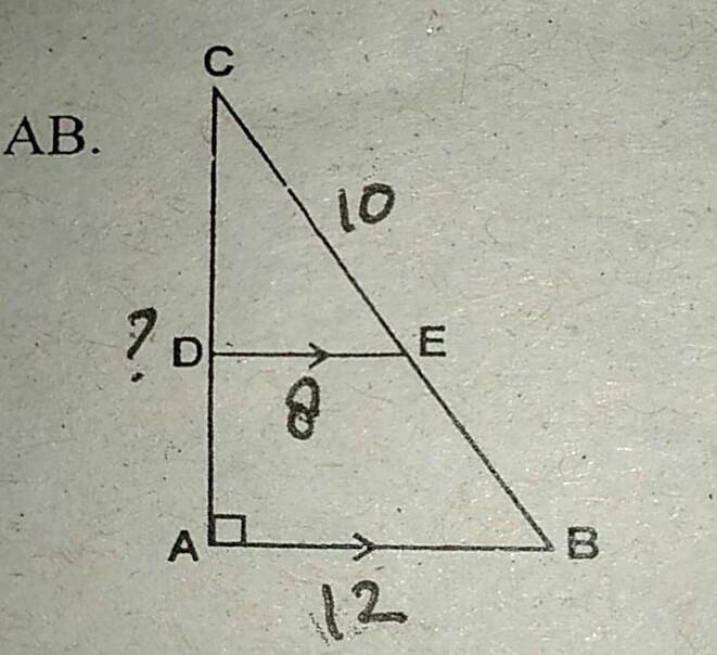 perhatikan gambar disamping. panjang DE = 8 cm, CE = 10 cm ...