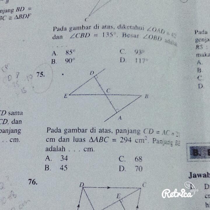 Pada gambar panjang CD = AC = 21cm dan luas segitiga ABC ...