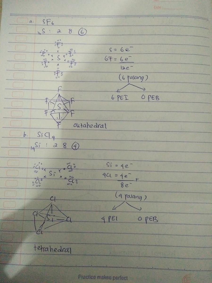 Ramalkan Bentuk Molekul Daria Sf6 Nomor Atom S 16 B Sicl4 Nomor Atom Si 14 C H2s Nomor Atom Brainly Co Id