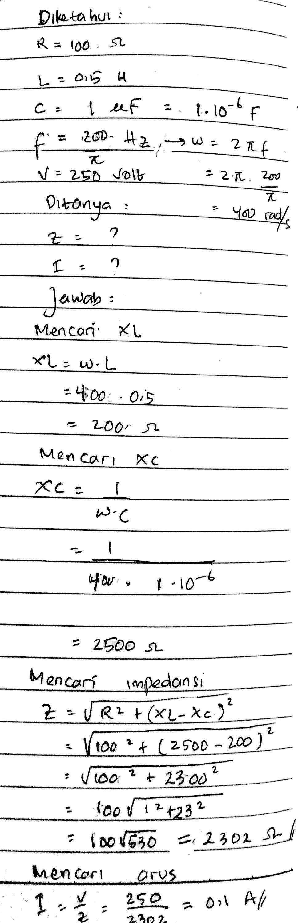 Rangkaian R L C Seri Dihubungkan Pada Sumber Tegangan Bolak Balik