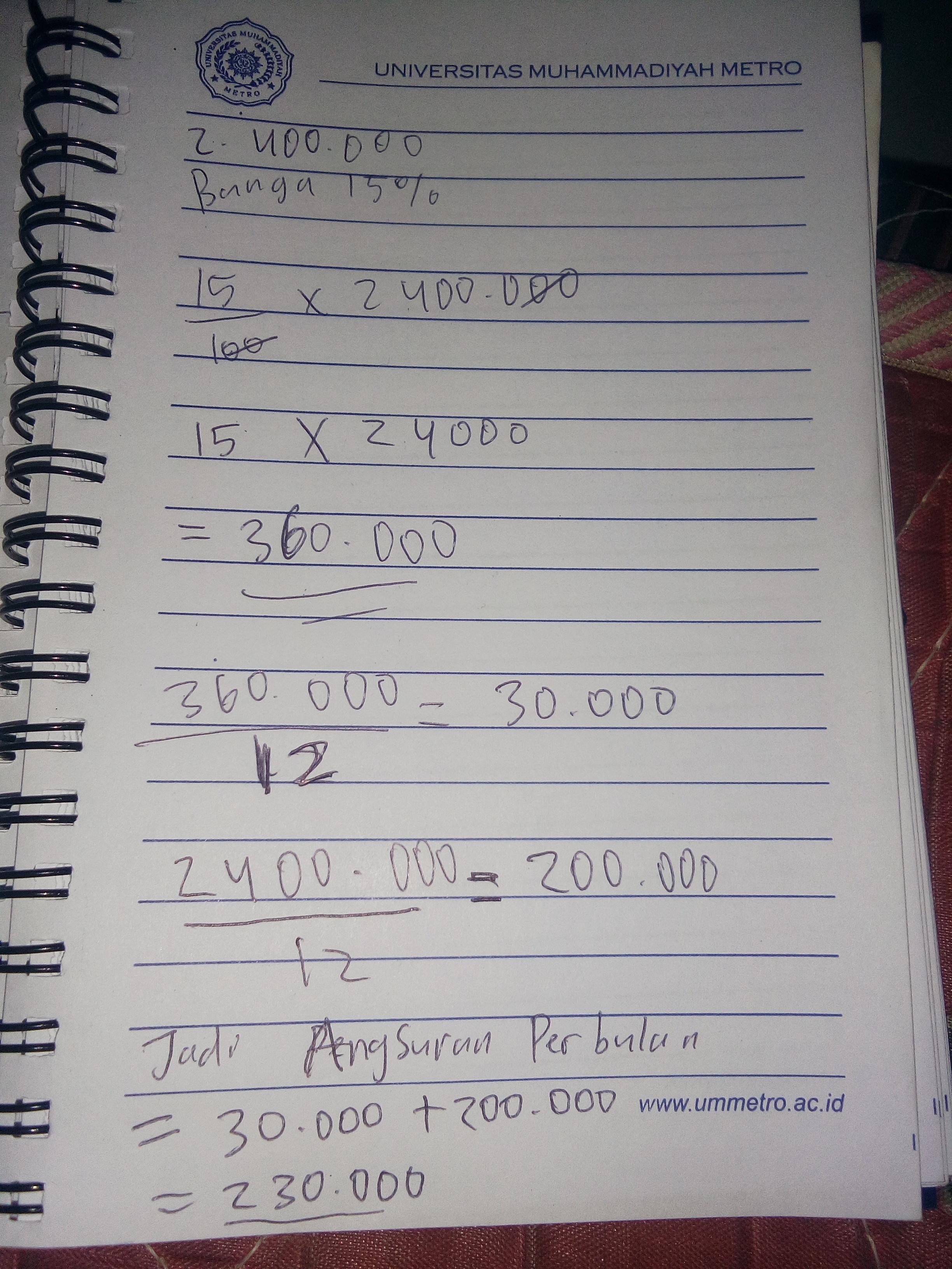 Pak Budi Meminjam Uang Di Sebuah Koperasi Sebesar 2400000 Sebagai