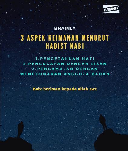 sebutkan 3 aspek iman,menurut hadist nabi? - Brainly.co.id