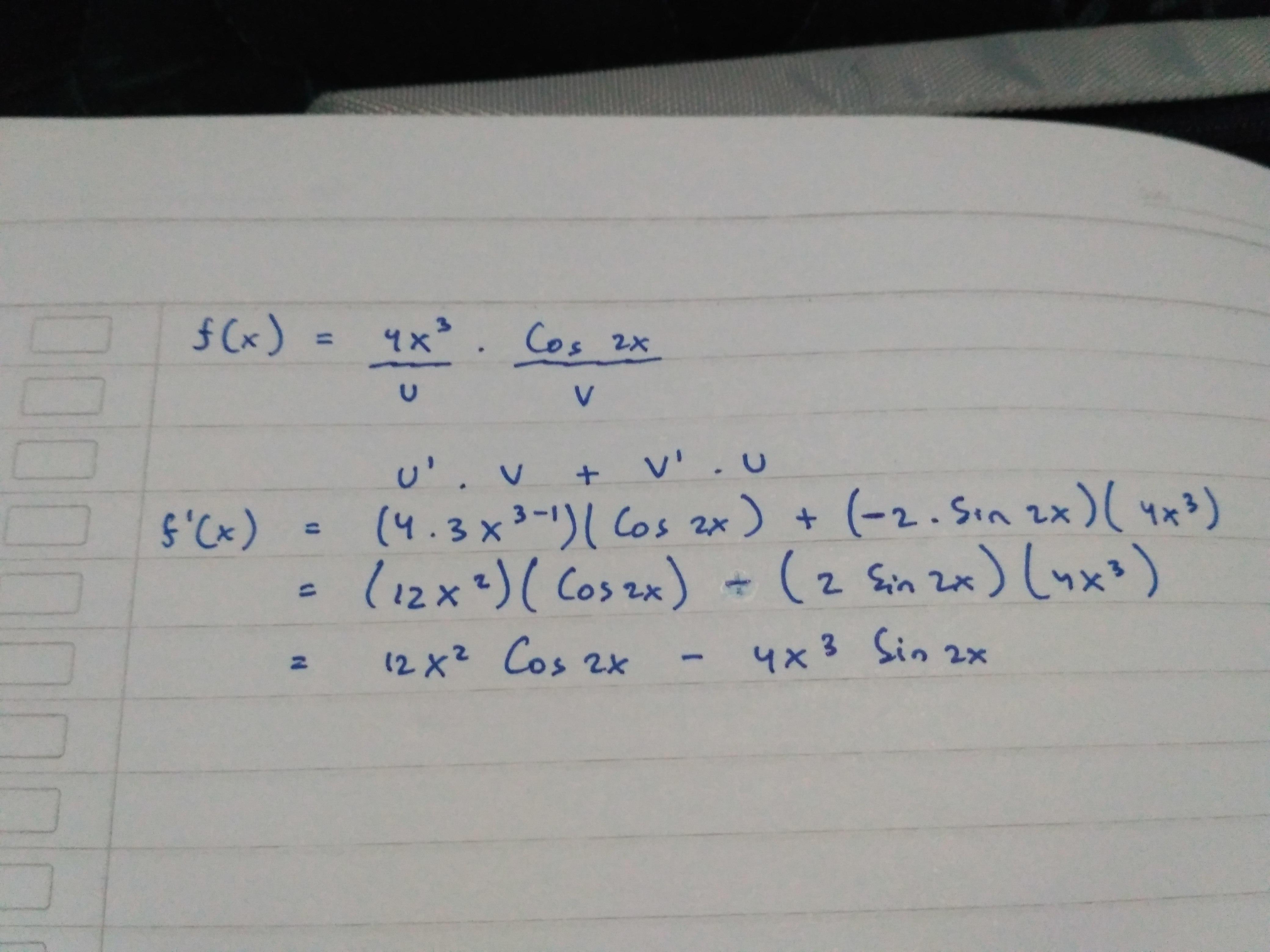 Tentukan turunan fungsi f(x)= 4x³ .cos 2x - Brainly.co.id