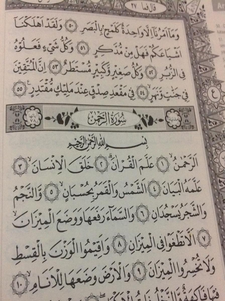Contoh Hukum Tajwid Di Surah Ar Rahman Ayat 1 5 Per Ayat