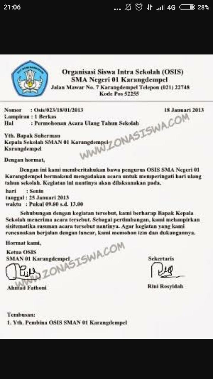 Contoh Surat Dinas Sekolah Smp Osis