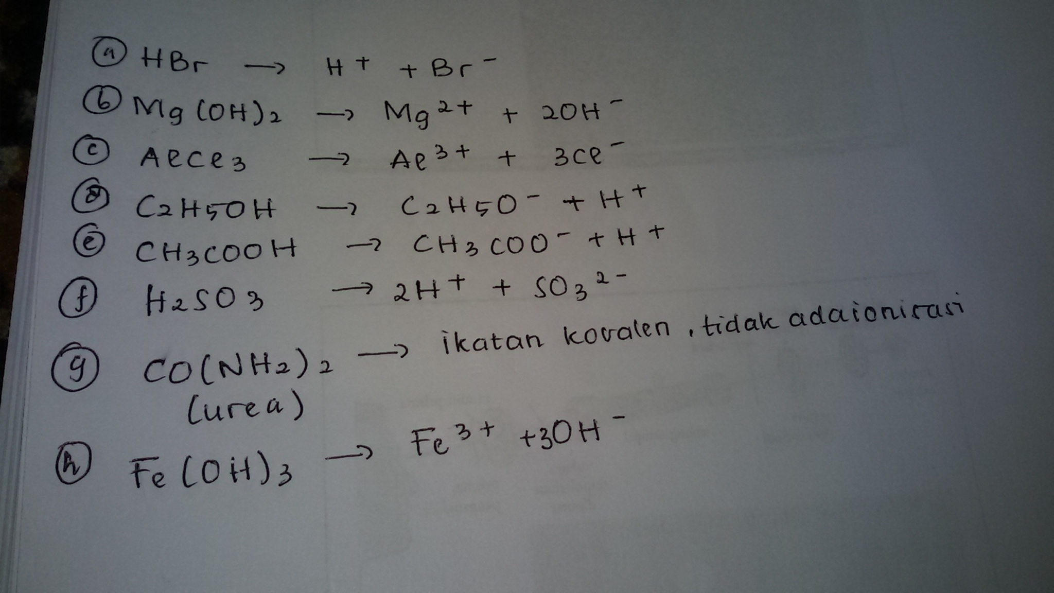 HBr, Mg(OH)2, AlCl3, C2H5OH, CH3COOH, H2SO3, CO(NH2)2, dan ...