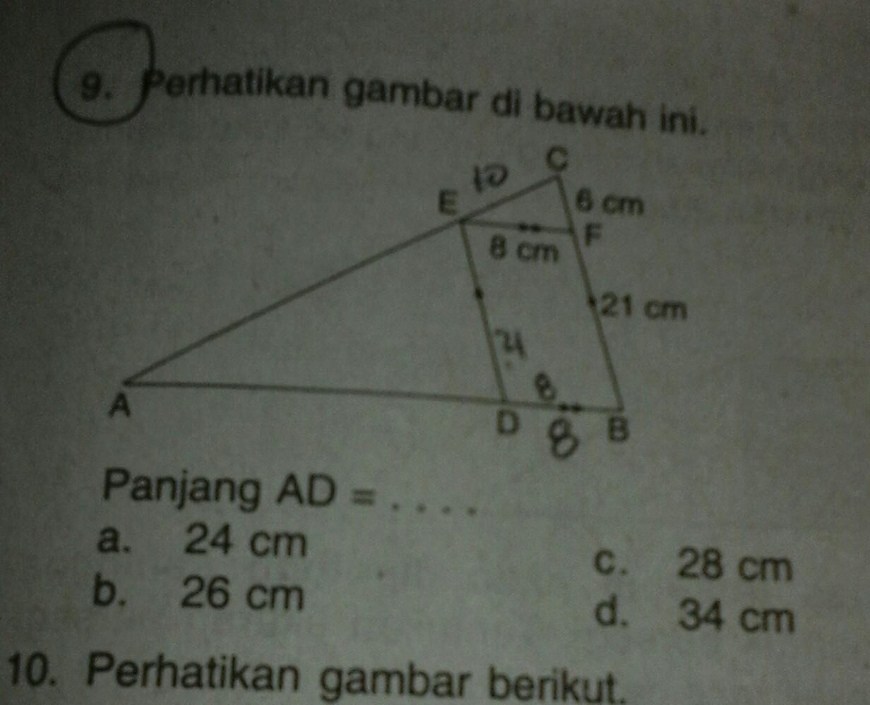 perhatikan gambar segitiga dibawah ini panjang AD ...