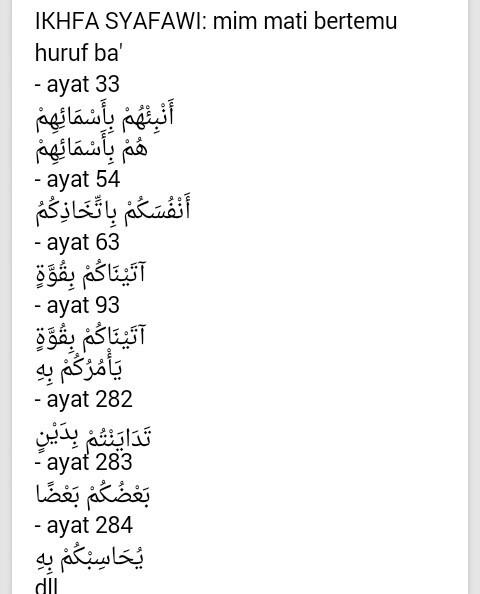Sebutkan Hukum Bacaan Ikhfa Syafawi Yg Ada Di Surat Al Baqarah