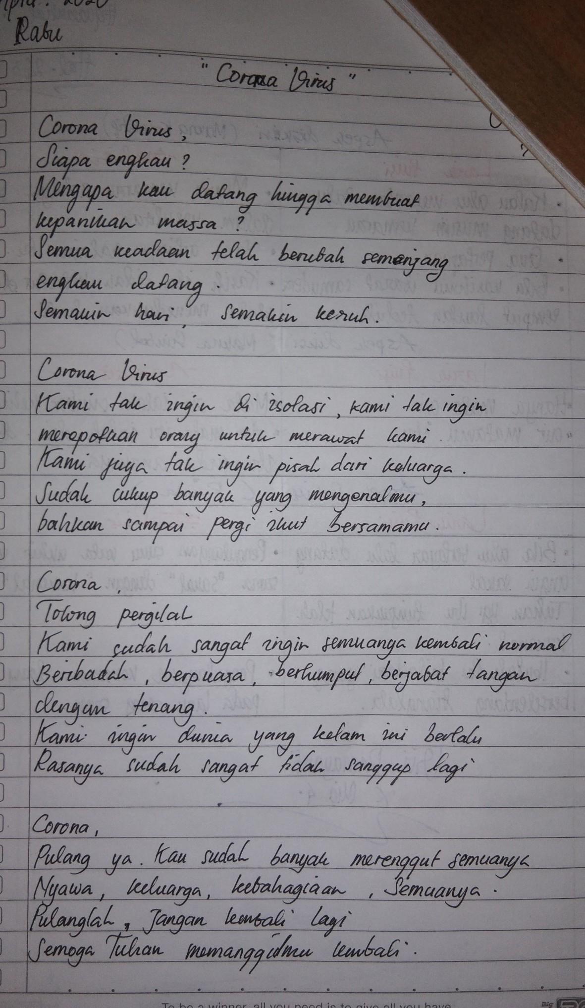 Contoh Puisi Tentang Corona Covid 19 3 Bait Aja Brainly Co Id