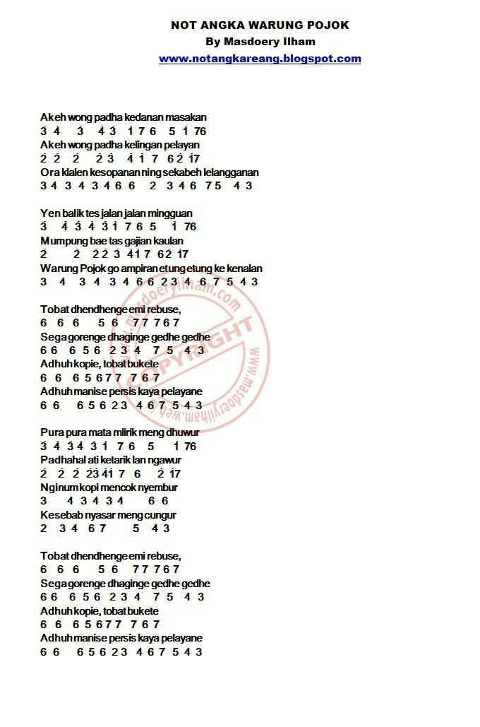 Tuliskan Not Angka Pianika Lagu Warung Pojok Brainly Co Id