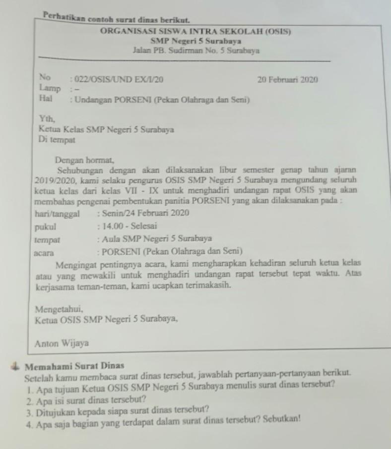 Contoh Surat Dinas Osis Smp Nusagates