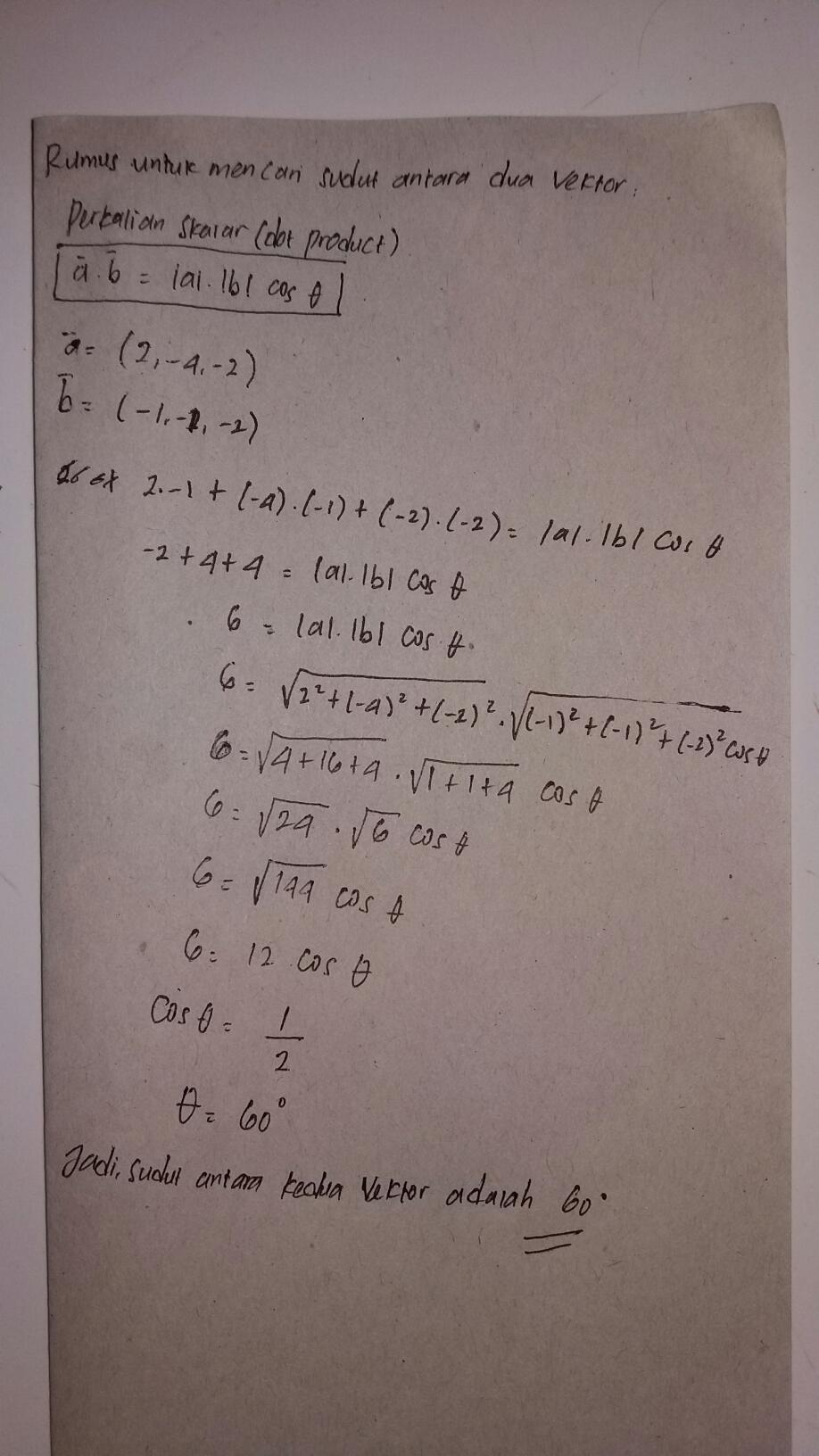 Jika Vektor A 2 4 2 Dan Vektor B 1 1 2 Maka Besar