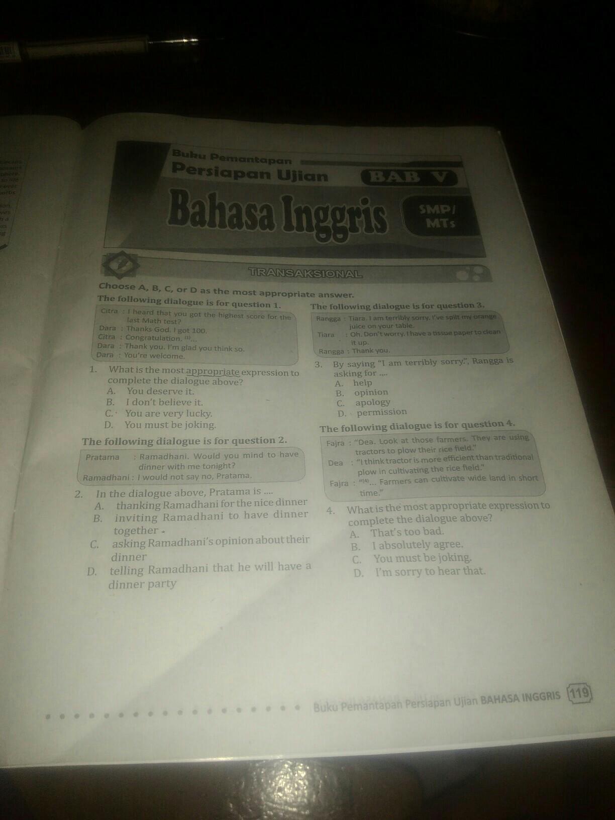 Tolong Beri Tahu Saya Kunci Jawaban Soal Pada Buku Pemantapan Persiapan Ujian Bahasa Inggris Brainly Co Id