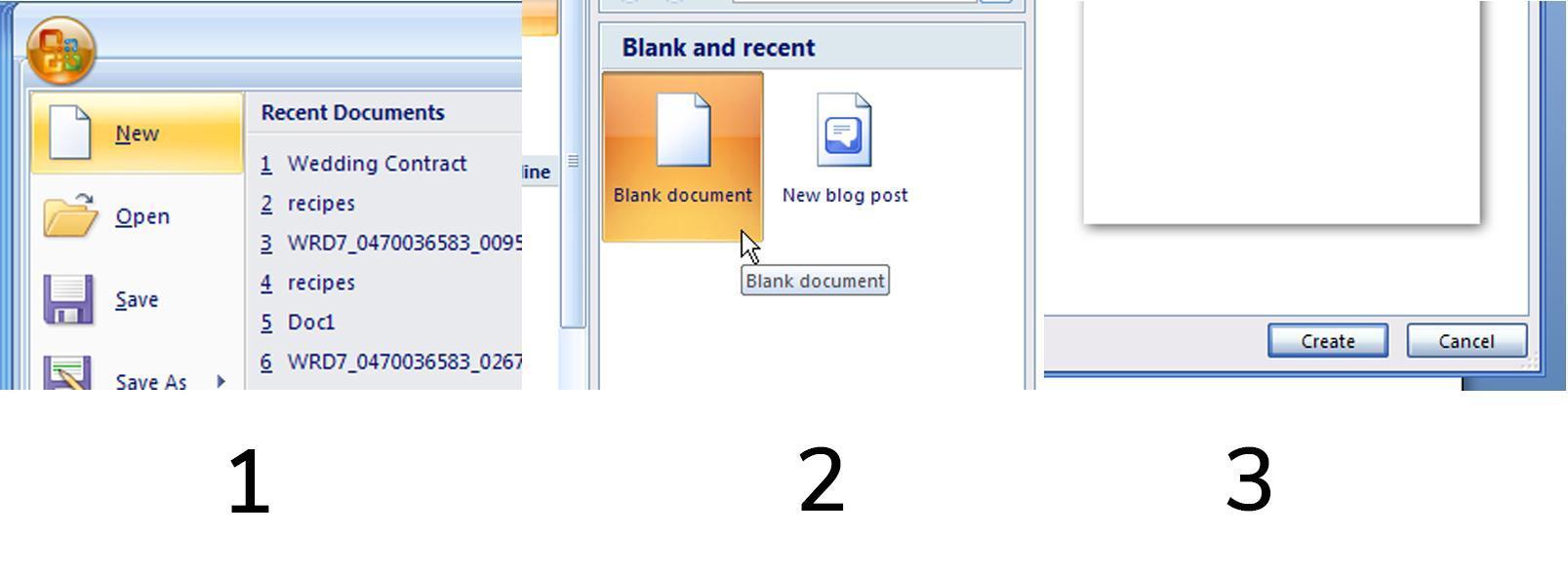 jelaskan 3 cara untuk membuka dokumen baru pada microsoft word