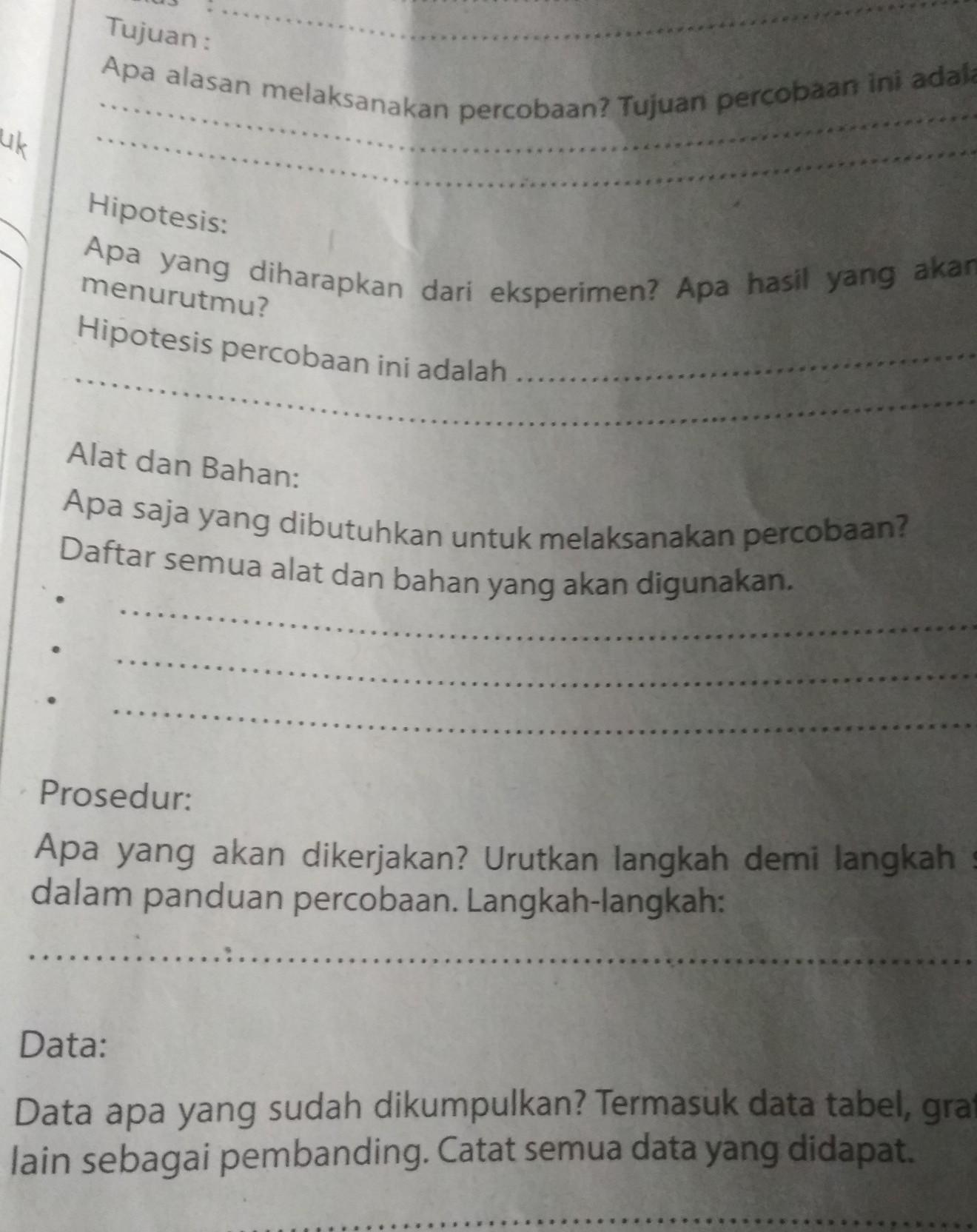 Tolong Bikinkan Format Laporan Percobaan Brainly Co Id