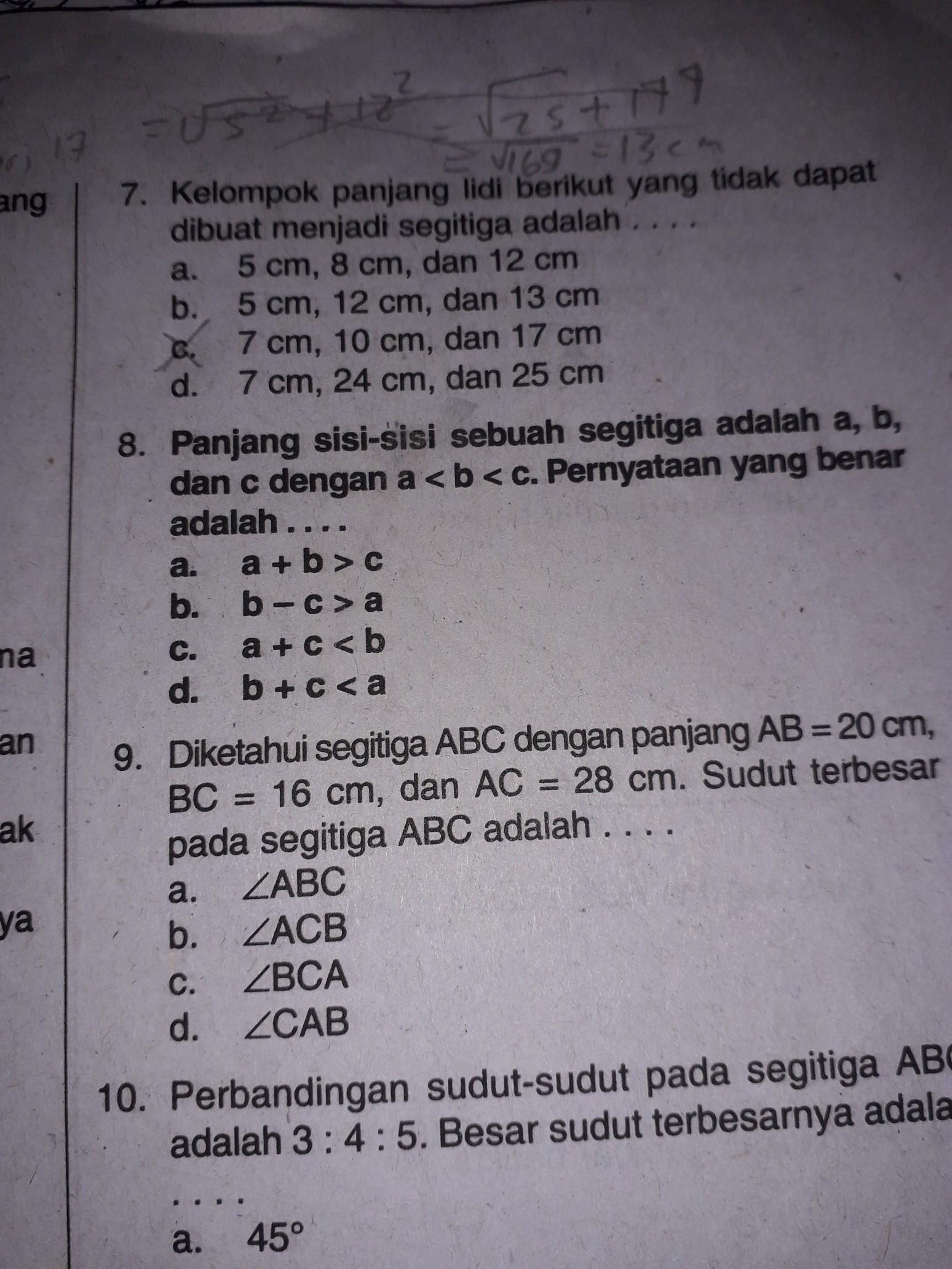 panjang sisi sebuah segitiga adalah a b dan c dengan a