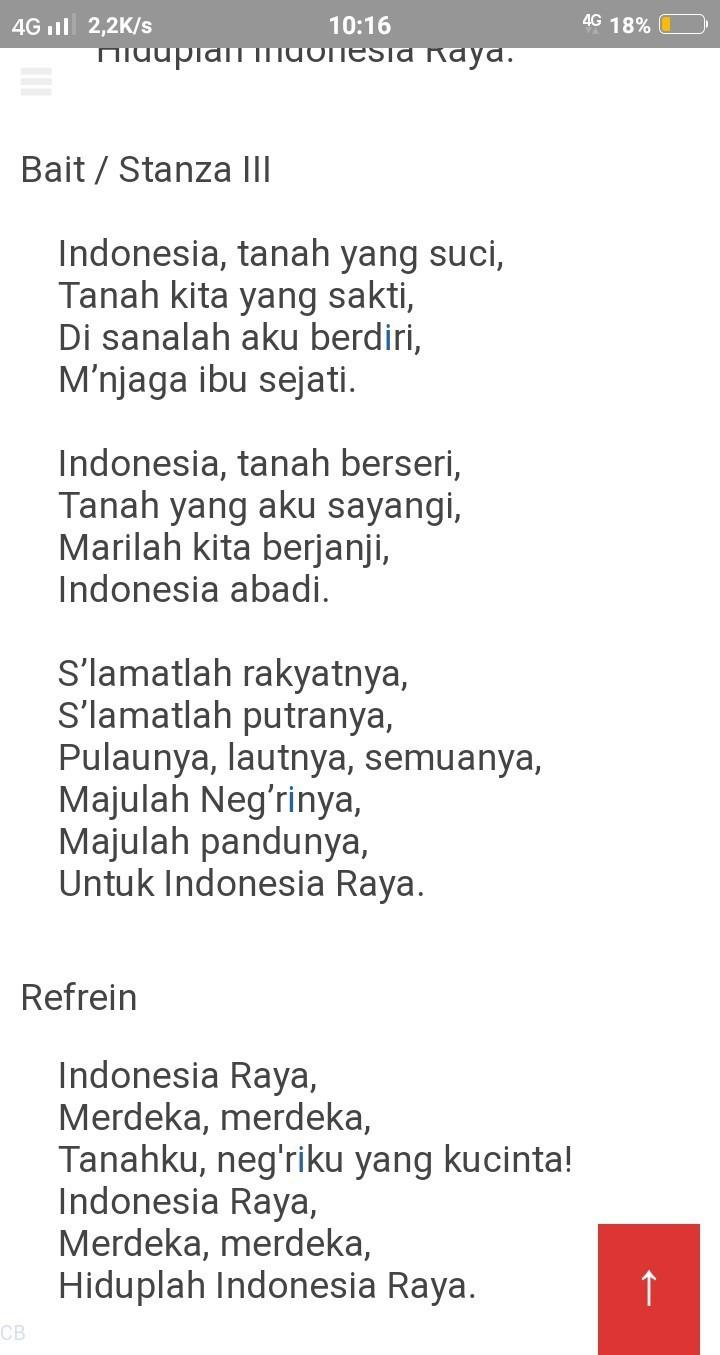 Lirik Lagu Indonesia Raya 3 Stanza Brainly