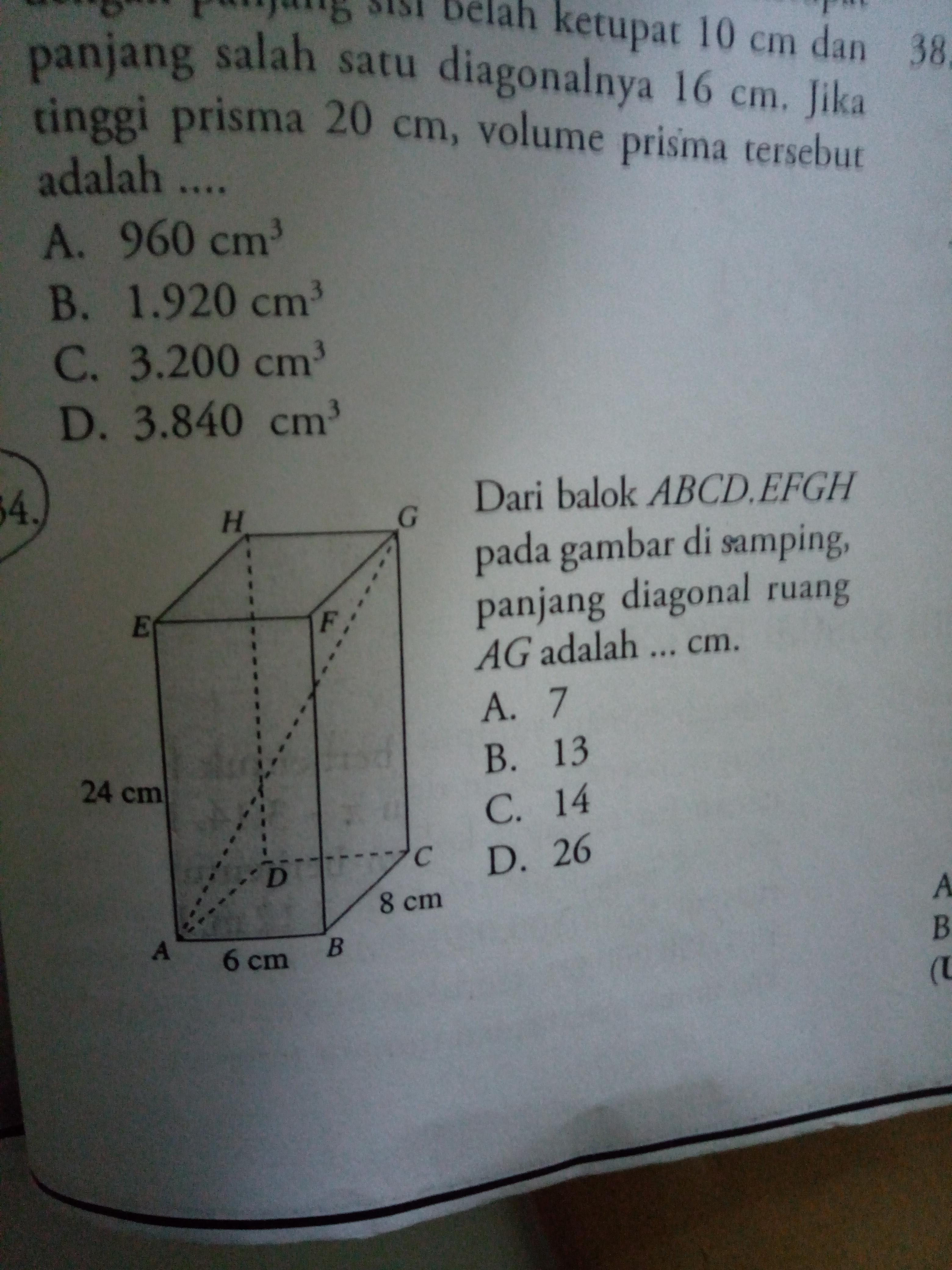 Dari balok abcdefgh pada gambar disamping panjang diagonal ruang ag dari balok abcdefgh pada gambar disamping panjang diagonal ruang ag adalah mohon bantu ccuart Image collections
