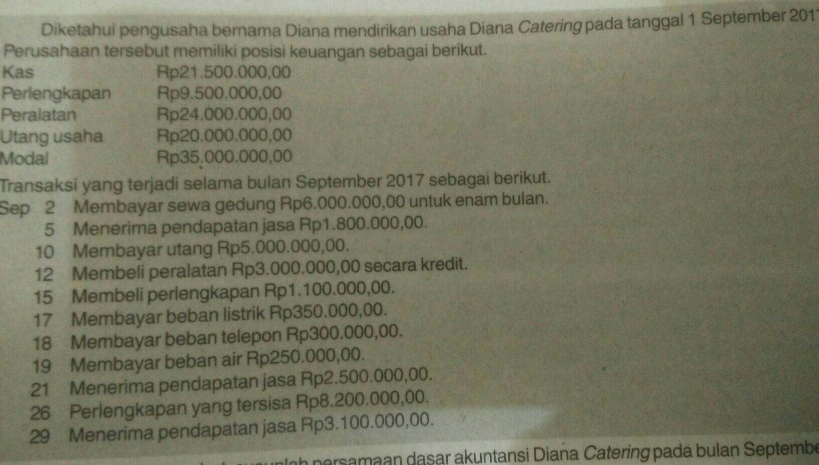 Berdasarkan Data Tersebut Susunlah Persamaan Dasar Akuntansi Diana Catering Pada Bulan September Brainly Co Id