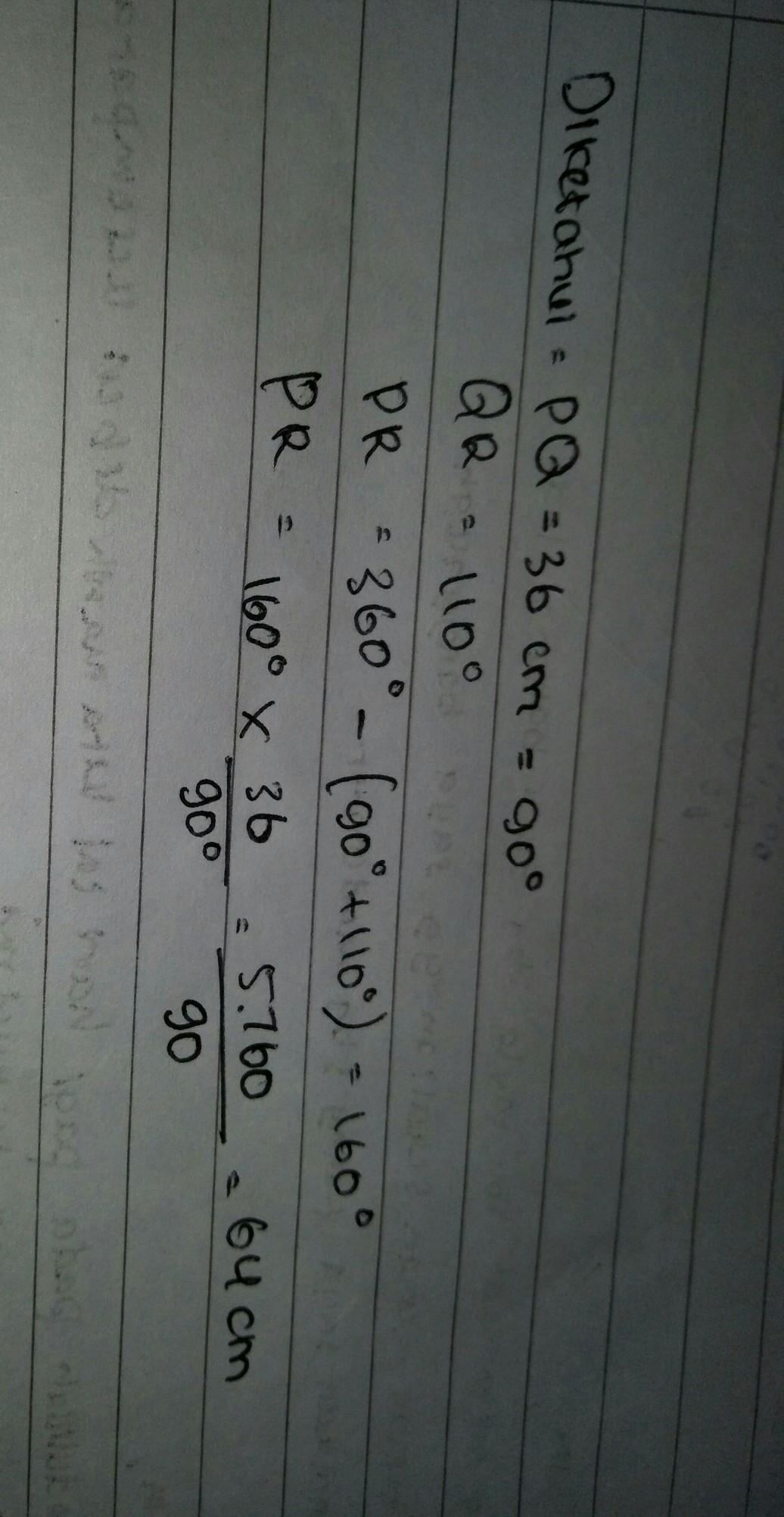 perhatikan gambar berikut! jika panjang busur PQ adalah 36 ...