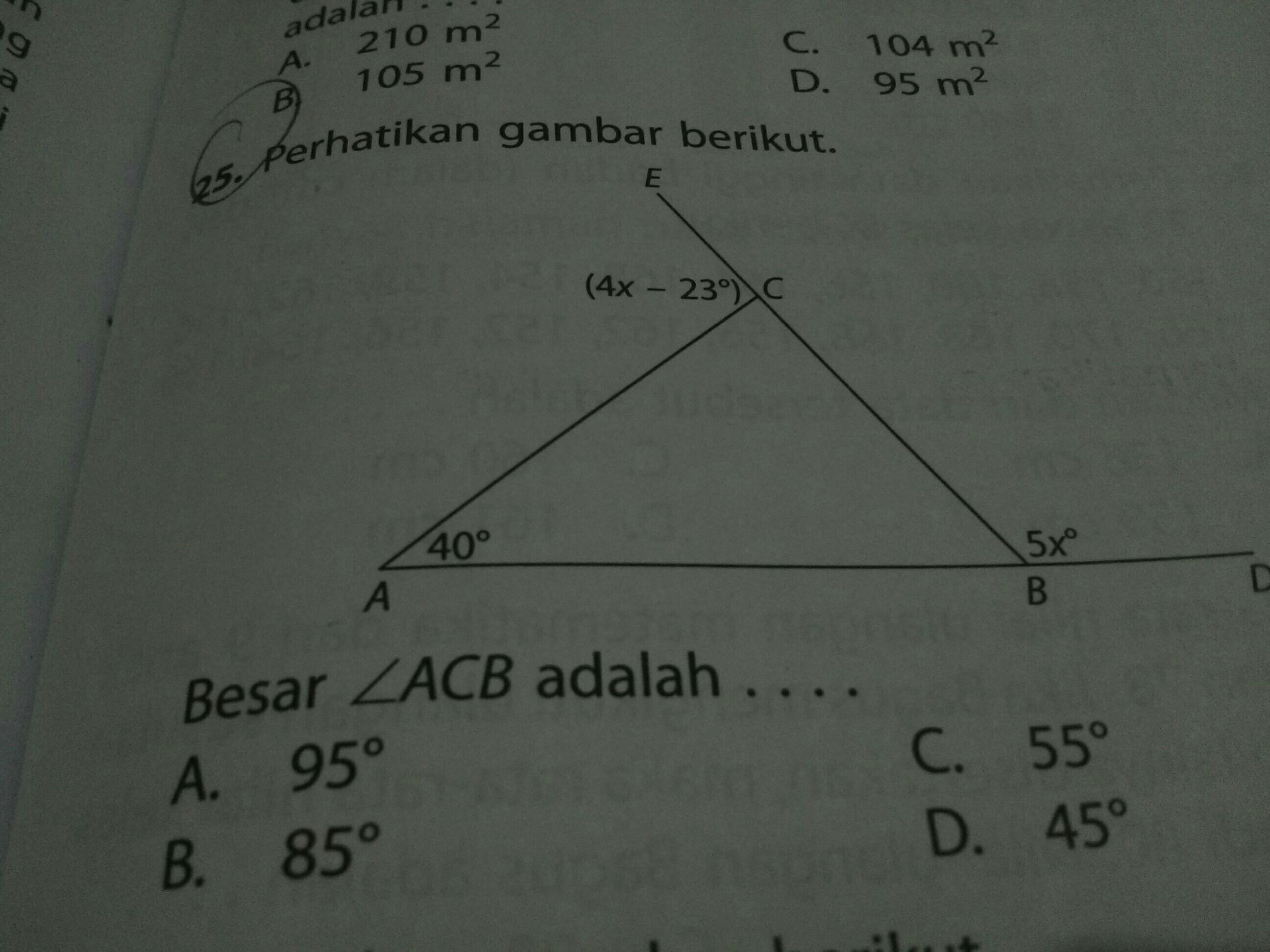 perhatikan gambar berikut besar sudut ACB adalah - Brainly ...