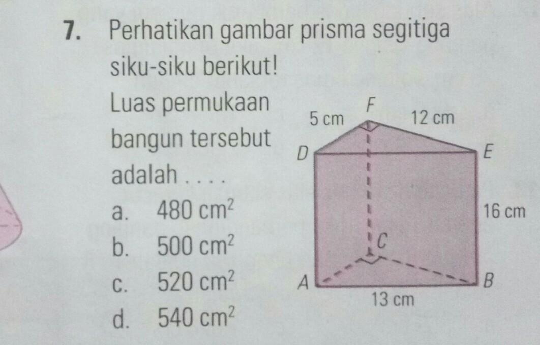 perhatikan gambar prisma segitiga siku-siku berikut! Luas ...