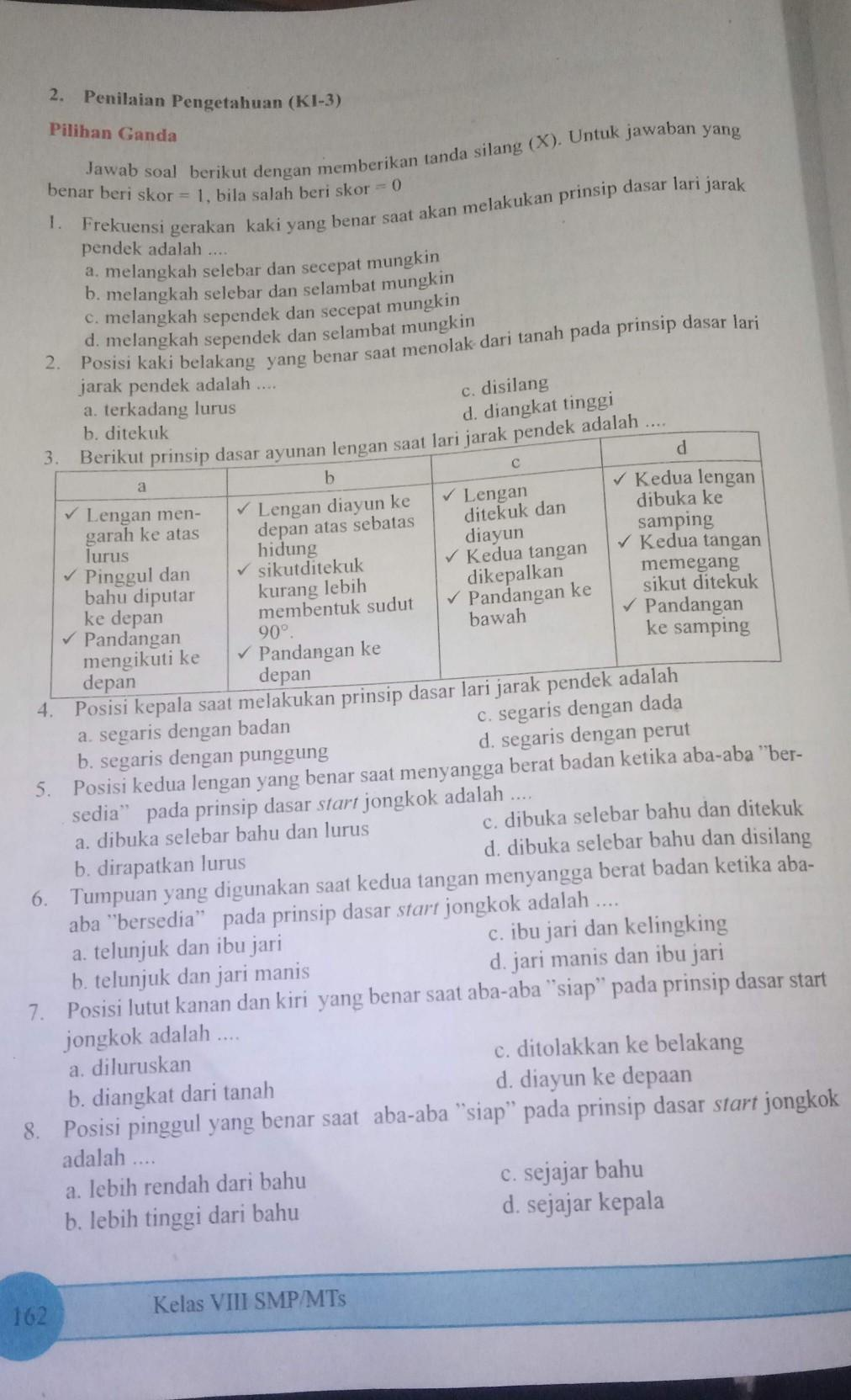 Tolong Kerjain Ya Kak Soal Pjok Kelas 8 Halaman 162 Dan 163 Bagian Pilihan Ganda Ajabakal Aku Brainly Co Id