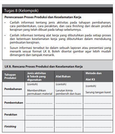 Lk 8 Rencana Proses Produksi Dan Keselamatan Kerja Kelas 12 Halaman 22 Brainly Co Id