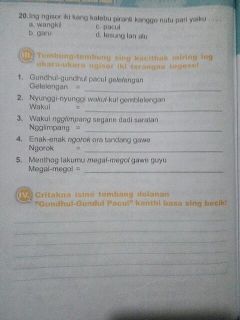 Jawaban Uji Kompetensi Wulangan 2 Bahasa Jawa Kelas 7