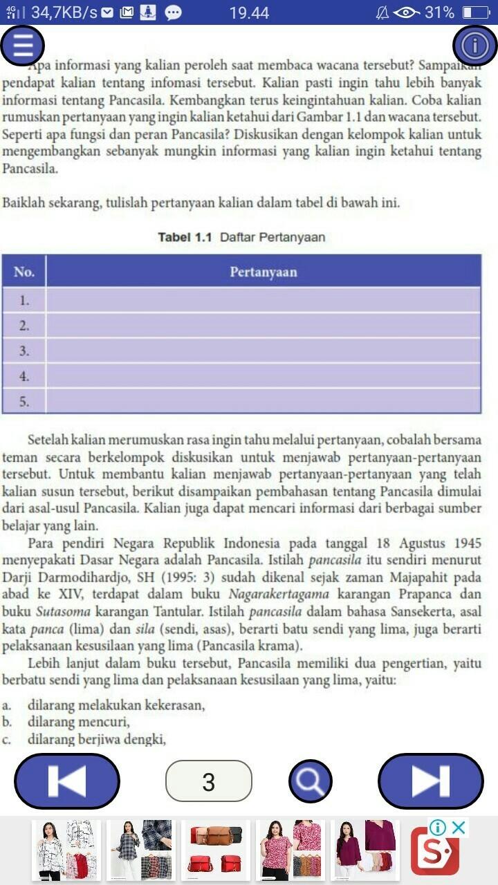 Tabel 1 1 Daftar Pertanyaankelas 8 Smp Pkntolong Jawab Ya Buat Tugas