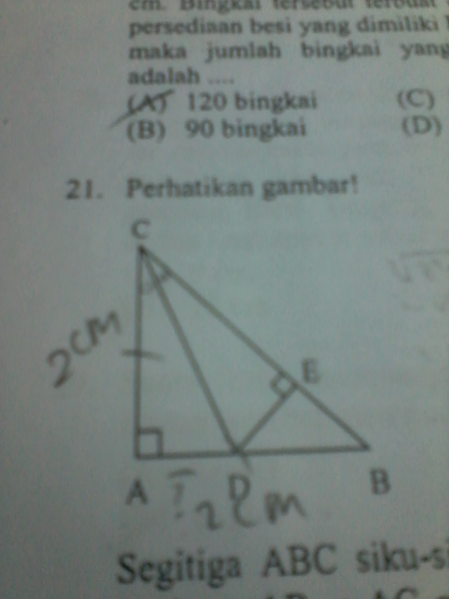 segitiga abc siku siku sama kaki dengan panjang Ab = ac = 20 cm. cd ...