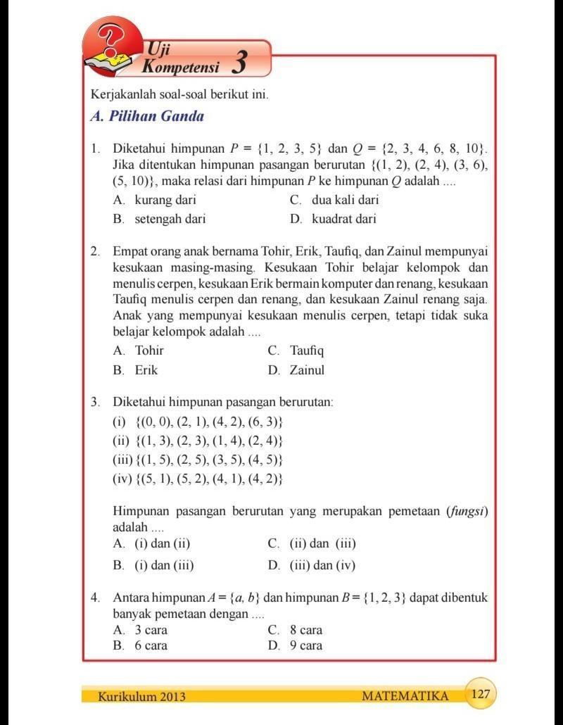 Jawaban Matematika Kelas 8 Semester 1 Halaman 127 Sampai 129 Brainly Co Id
