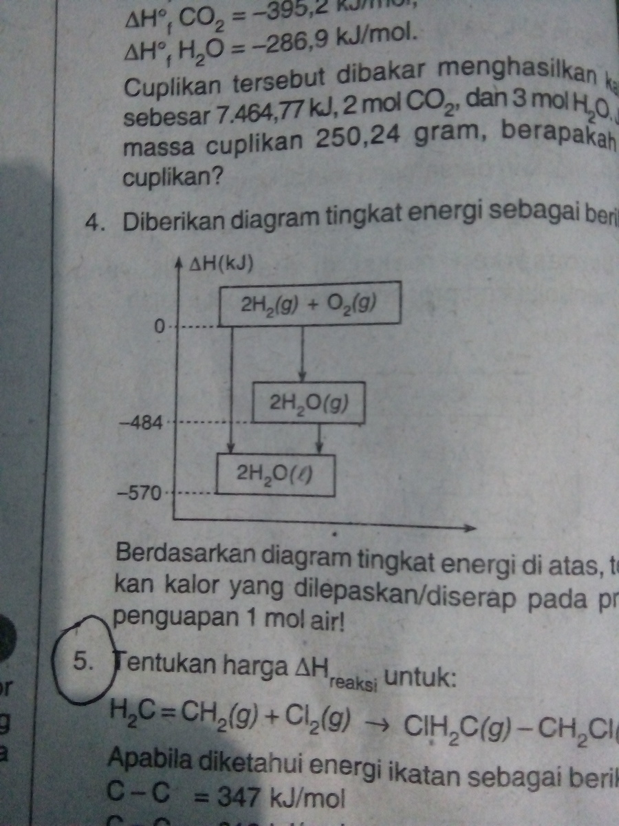 Berdasarkan diagram tingkat energi di atas tentukan kalor yang berdasarkan diagram tingkat energi di atas tentukan kalor yang diserap pada proses penguapan 1 mol air ccuart Image collections