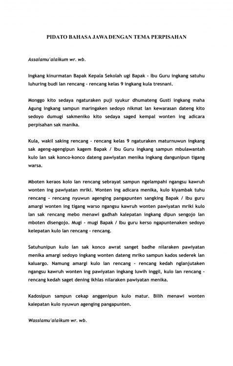 Contoh Pidato Bahasa Jawa Tentang Perpisahan Kelas 9