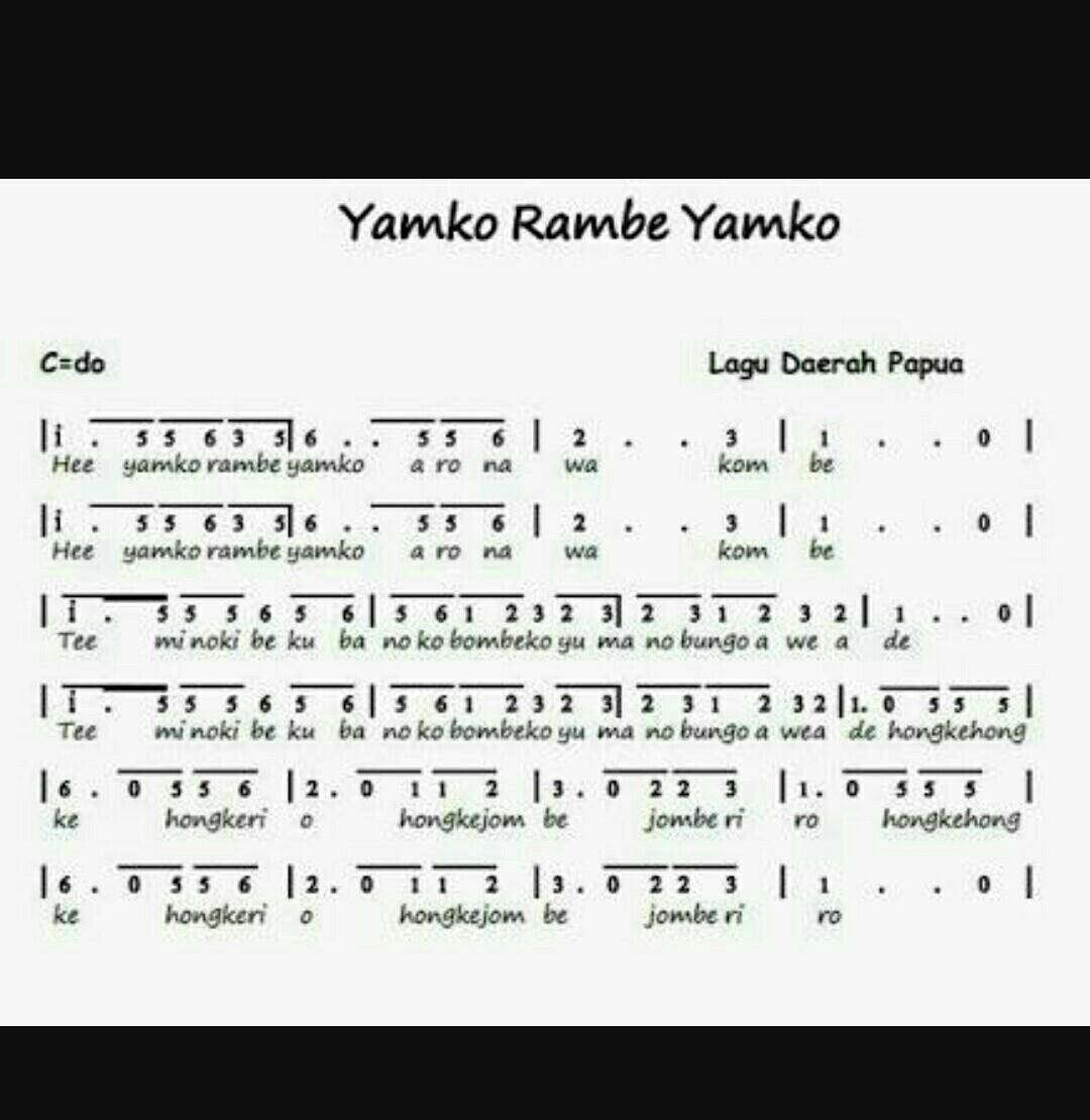 Not Angka Pianika Lagu Laskar Pelangi Dan Yamko Rambe Yamko Brainly Co Id