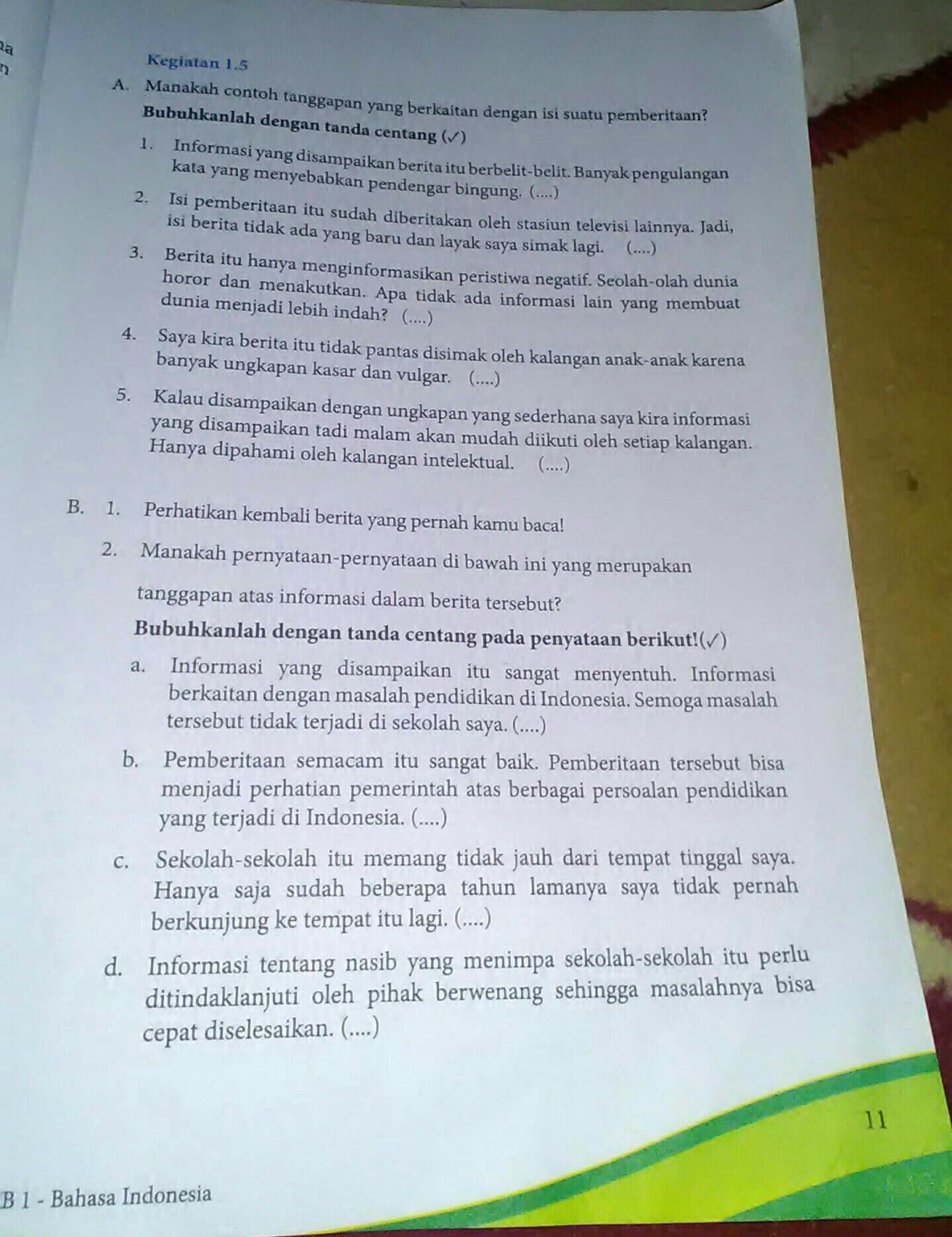Kegiatan 1 5 Bahasa Indonesia Kelas 8 Tolong Di Jawab Brainly Co Id