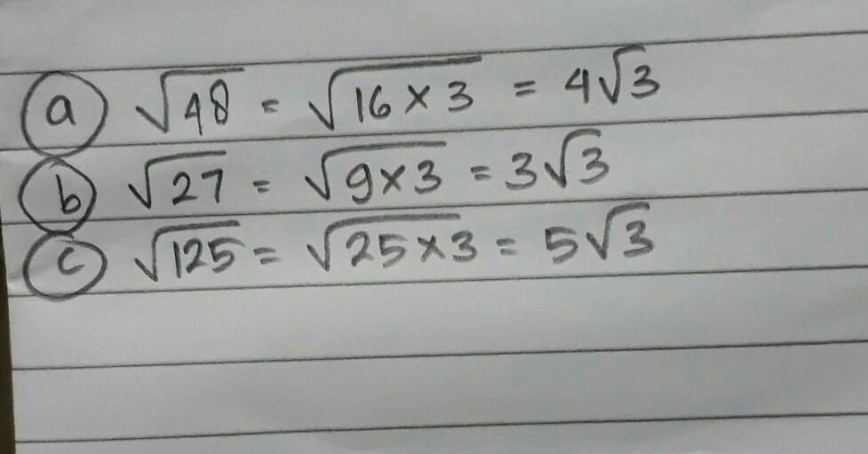 Sederhanakan Bentuk Akar Di Bawah Ini A Akar 48 B Akar 27 C Akar 125tolong Besok Di Kumpulkan Brainly Co Id