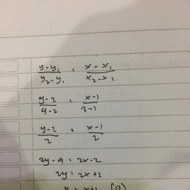 persamaan suatu garis yang melalui titik ( 1,2) dan titik ...