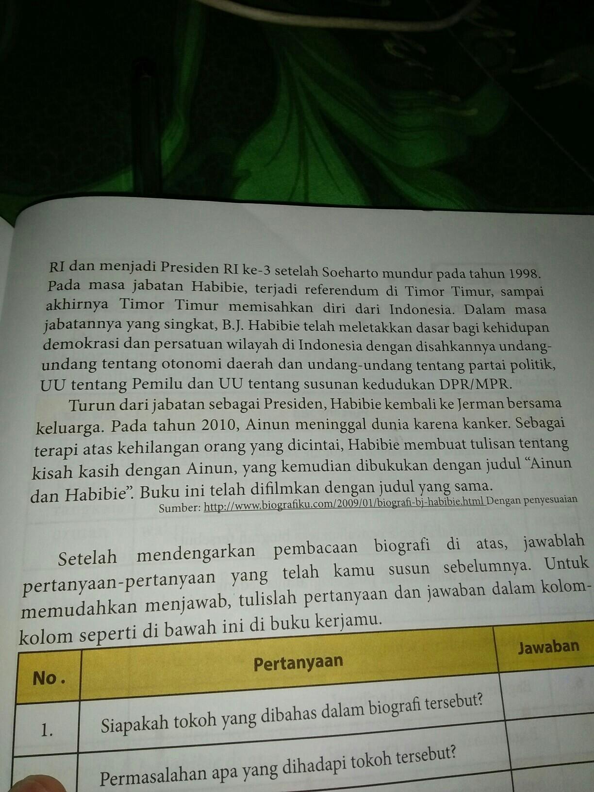 Analisislah Kaidah Kebahasaan Teks Biografi B J Habibie Seperti