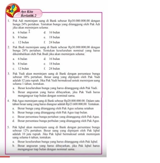 Tolong Kasih Jawabannya Yang Ayo Kita Berlatih 6 2 Matematika Kelas 7 Brainly Co Id