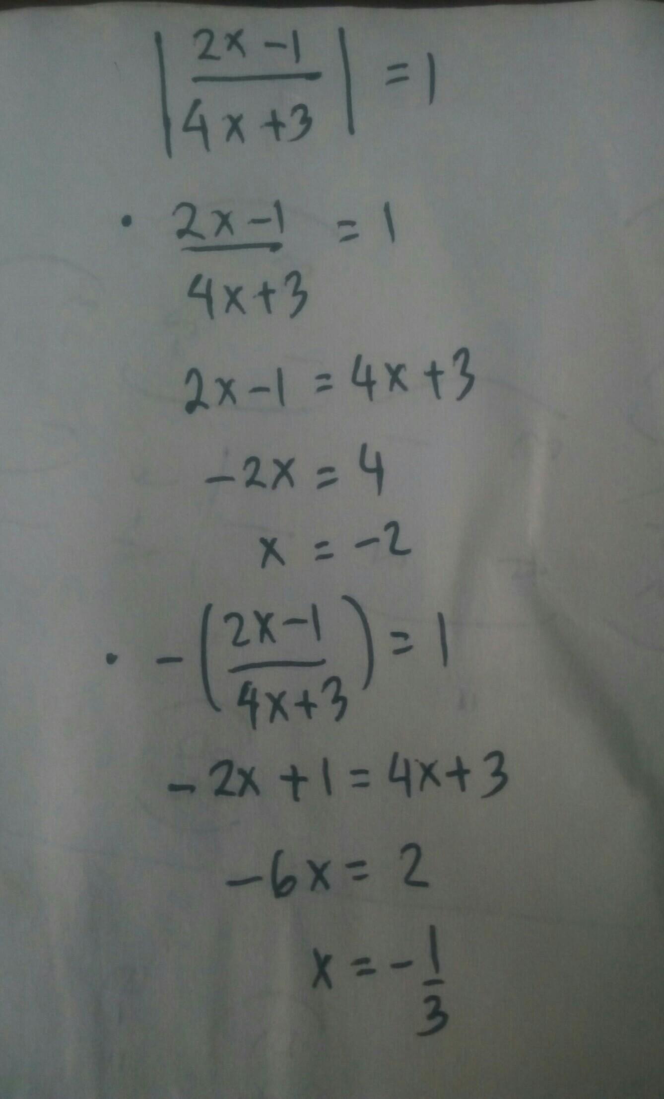 Nilai X Dari Persamaan Nilai Mutlak Berikut 2x 1 4x 3 1 Adalah Brainly Co Id